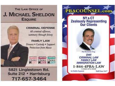 Legal/Political Space Ads Designs: