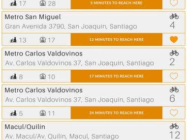 App Design for Santiago Bike App