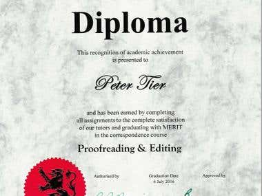Diploma of Proofreading and Editing