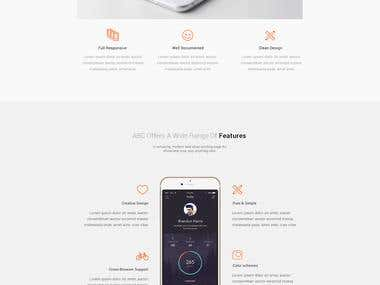 Landing page design for animapp
