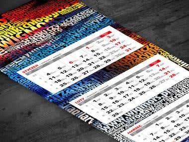 Trifold company calendar