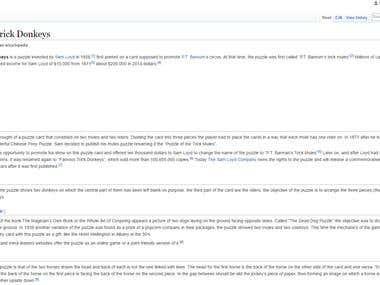 Wikipedia profile for a puzzle