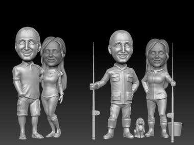 series of 3d print ready bobble head bodies models(stl)