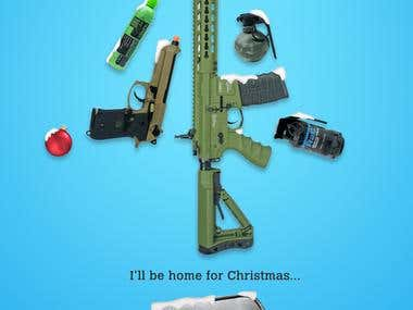 Winter Themed Flyer Design for Airsoft Guns