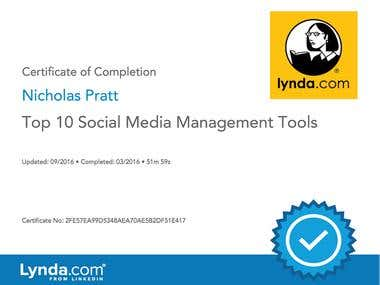 Lynda.com Certificate: Top 10 Social Media Management Tools
