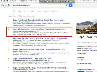 Private Tours Cape Town - SEO Optimization