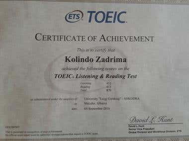 Achieved TOEIC L&R Certificate