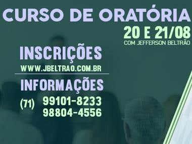 E-card e capa para curso de oratória Jefferson Beltrão