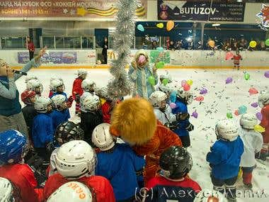 New Year's celebration of young hockey players.