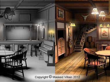 Old Cowboy saloon (low poly game environment for iPhone)