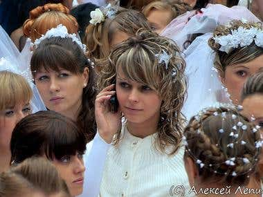 Bride with telephone