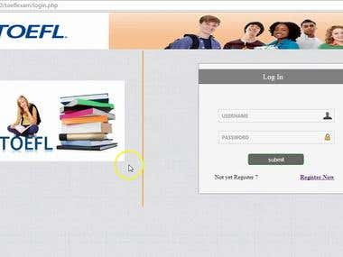Custom Website development - TOEFL Examination testing.