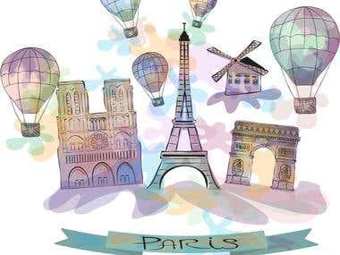 Travel illustration of Paris