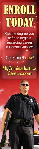 Promotional banner for mycriminaljusticecareers.com
