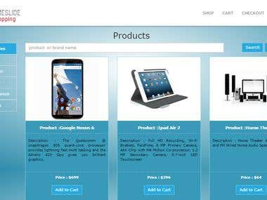 Shopping Cart Application using MVC framework