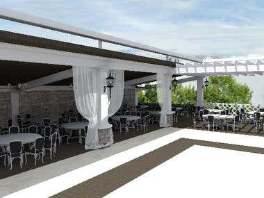 Outdoor restaurant for weddings