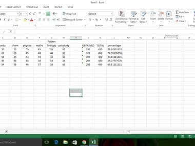 DATA ENTRY EXCEL skills Example