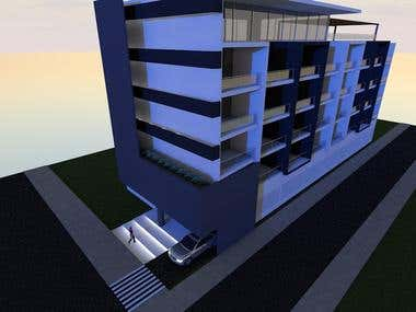 Exterior 3D Render 4 Stories Residence Building