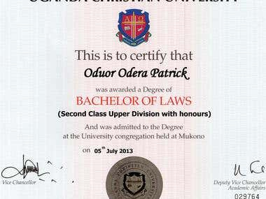 Bachelor of Laws Degree Certificate