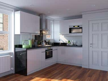 3d visualization of kitchen (Ukraine, Kharkov)