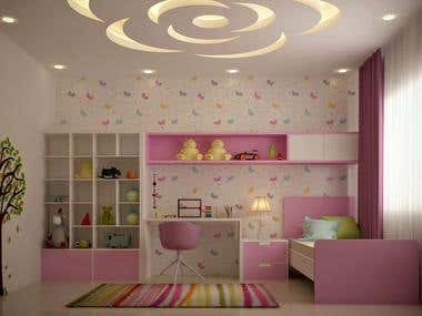 Interior design and 3D visualization of Kids Bedroom