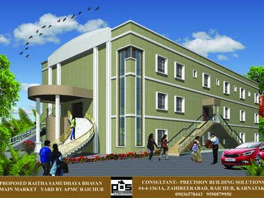 3d elevation of multistorey commercial building