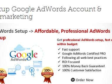 Setup Google AdWords Account & Remarketing