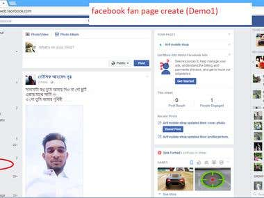 This is facebook fan page creation demo.