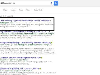 Top ranking in Google australia