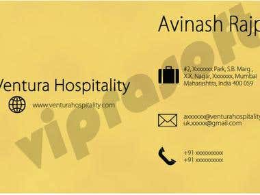 Business Card for Hospitality Company