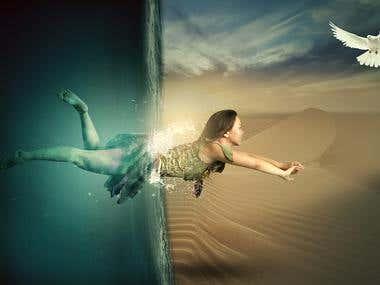 Under water photo manipulation