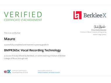 Vocal Recording Technology (Berklee - edX Certificate)