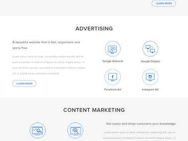 One page design entry for a digital marketing agency