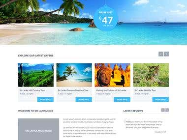 Home page design entry for a travel agency