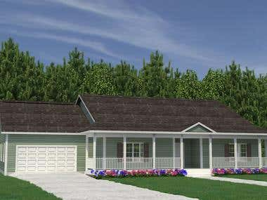 House exterior, 3D modeling and rendering