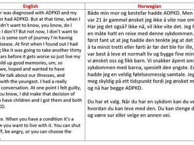 English to Norwegian