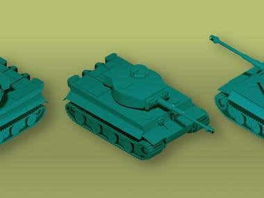 Isometric tank asset for games.