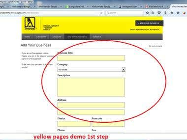 yellow pages demo  1st and 2nd step