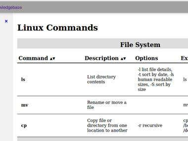 Linux command reference - HTML, jQuery, AJAX, and PHP