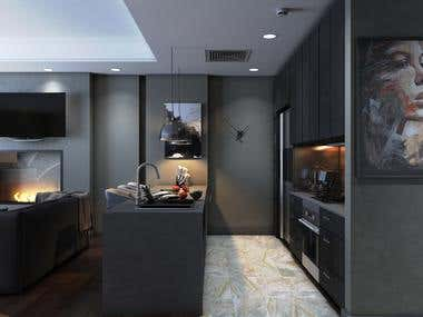 Entry+kitchen+living room (Dark theme)