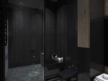 Dark bathroom & ( 360º panorama ) vizualization