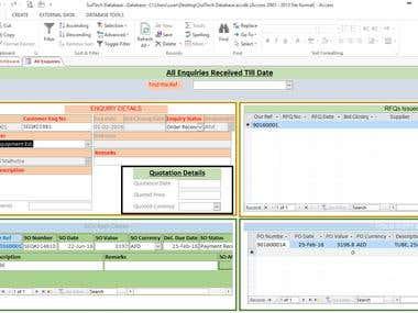 Screenshot of Enqruies Database