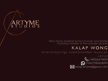 Business card for ArTyme