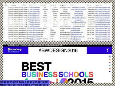Research and data collection for best business schools rated