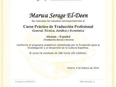 TRANSLATION CERTIFICATE FIDESCU