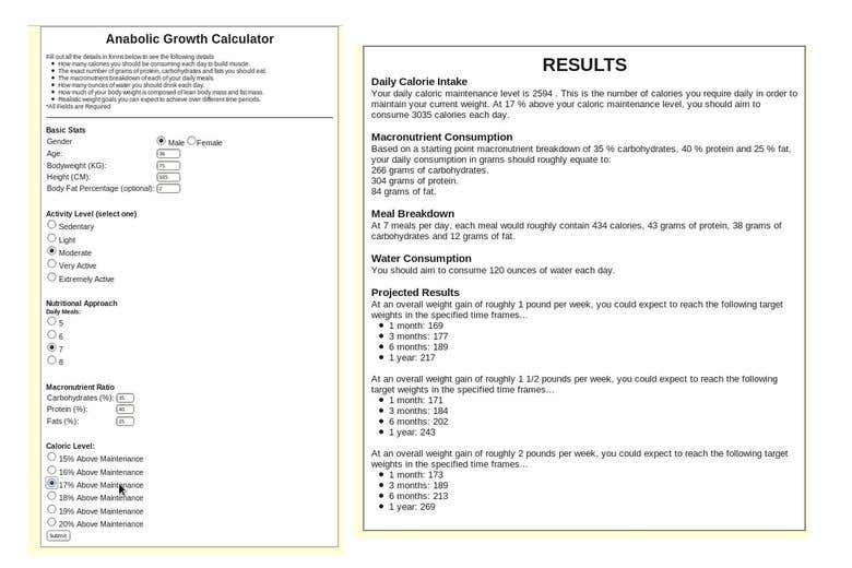 Anabolic Growth Rate Calculator | Freelancer