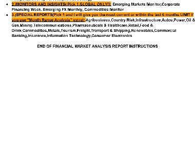 FINANCIAL MARKET ANALYSIS REPORT SEARCH PARAMETERS