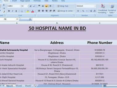 50 HOSPITAL NAME IN BD