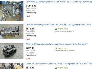 Managed eBay store for used car parts