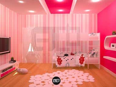 "Kids room 3D "" interior design """